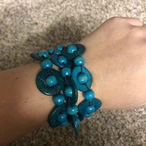 Teal beaded stretchy bracelet NEW nickel FREE